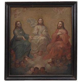TRINIDAD ANTROPOMORFA MÉXICO, FINALES DEL SIGLO XVIII Óleo sobre tela Detalles de conservación 94 x 94 cm