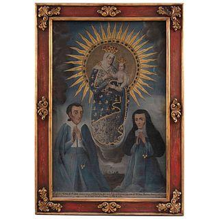 VIRGEN DEL ROSARIO DE CHIQUINQUIRÁ CON DONANTES MÉXICO, SIGLO XVIII Óleo sobre tela 156 x 100 cm