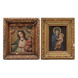 LOTE DE DOS IMÁGENES RELIGIOSAS SIGLO XIX 1.-Virgen de la Luz Óleo sobre tela 25.5x19 cm 2.- Virgen con niño Óleo sobre lámina 18x13 cm