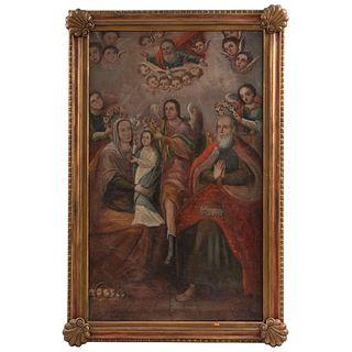 SANTA ANA, LA VIRGEN NIÑA Y SAN JOAQUÍN SIENDO CORONADOS MÉXICO, SIGLO XIX Óleo sobre tela 157 x 94 cm
