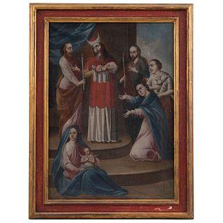 LA CIRCUNCISIÓN DE JESÚS MÉXICO, PRINCIPIOS DEL SIGLO XIX Óleo sobre tela  Detalles de conservación 120 x 90 cm