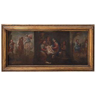 TRÍPTICO REYES MAGOS, NACIMIENTO DE JESÚS, HUÍDA A EGIPTO MÉXICO, SIGLO XVIII Óleo sobre tela  47 x 111 cm
