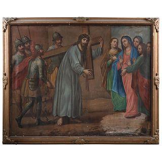 CRISTO ENCUENTRA A LAS MUJERES MÉXICO, SIGLO XVIII Óleo sobre tela Detalles de conservación 161 x 206 cm