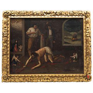 FLAGELACIÓN DE CRISTO MÉXICO, SIGLO XIX Óleo sobre tela Detalles de conservación. Repintes 52 x 67 cm