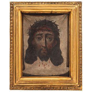 SANTA FAZ MÉXICO, SIGLO XIX Óleo sobre tela Detalles de conservación 26 x 19 cm