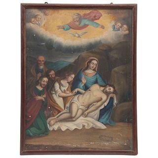 LA PIEDAD MÉXICO, SIGLO XIX Óleo sobre tela Detalles de conservación. Repintes 55 x 40 cm