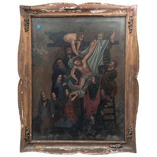 DEPOSICIÓN DEL CUERPO DE CRISTO MÉXICO SIGLO XIX Óleo sobre tela Detalles de conservación. Repintes 100 x 77 cm