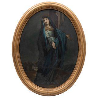 VIRGEN DOLOROSA MÉXICO, SIGLO XIX Óleo sobre lámina Detalles de conservación 63 x 49 cm