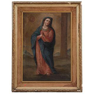 VIRGEN DOLOROSA MÉXICO S. XIX Óleo sobre tela Detalles de conservación 99 x 69 cm