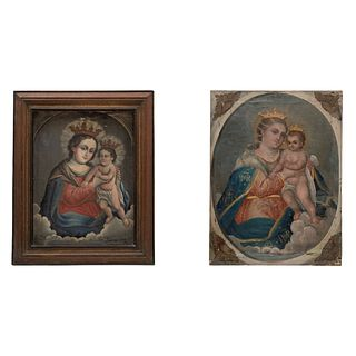 GUADALUPE TAPIA MÉXICO, Ca. 1900 VIRGEN DEL REFUGIO 2 piezas. Una firmada Óleo sobre tela Dim máx: 55 x 41 cm