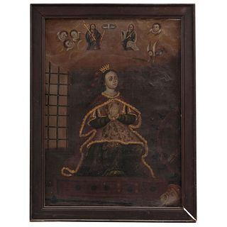 SANTA CATALINA DE ALEJANDRÍA MÉXICO, SIGLO XIX Óleo sobre tela Detalles de conservación 60 x 110 cm