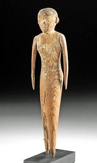 Egyptian Middle Kingdom Wood & Gesso Striding Figure