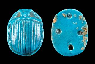 Egyptian Glazed Faience Scarab Attachment for Mummy