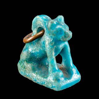 Miniature Egyptian Glazed Faience Seated Cat Pendant