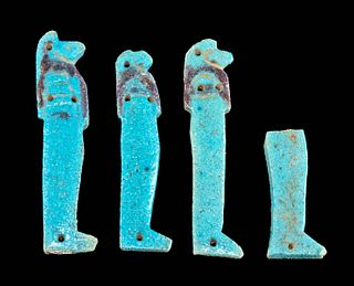 4 Egyptian Faience Amulets - Sons of Horus