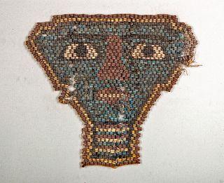 Egyptian Faience Bead Mummy Mask w/ Frame