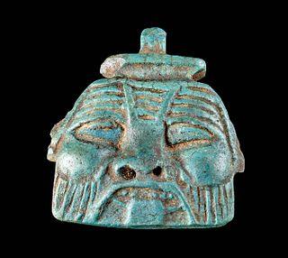 Fine Egyptian Late Dynastic Faience Bes Face Pendant