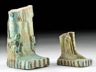 2 Huge Egyptian Faience Figural Fragments w/ TL