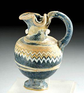 Near-Miniature Greek Rhodian Core-Form Glass Oinochoe