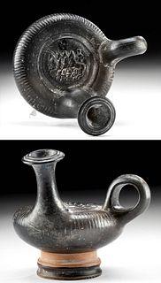 Apulian Black-Glazed Pottery Guttus Tethrippon