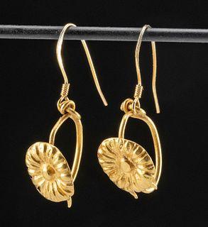 Pair of Wearable Roman Gold Earrings w/ Flower Bosses