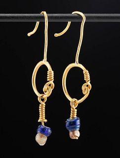 Wearable Roman Gold & Glass Bead Earrings