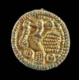 8th C. Viking / Saxon Gilt Bronze Brooch w/ Raven