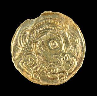 4th C. Pre-Viking Gold Bracteate Amulet w/ Odin