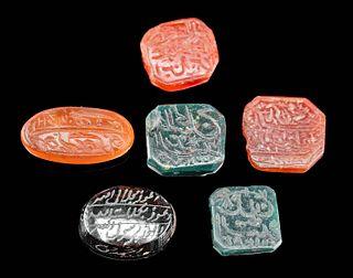 Six 18th C. Islamic Stone Intaglios w/ Incised Script