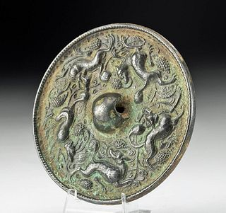 Chinese Tang Dynasty Leaded Bronze Mirror w/ Lions