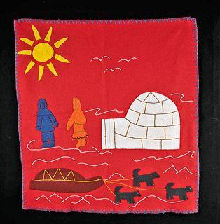20th C. Alaskan Inuit Wool Felt Nivingajuliat Wall Art