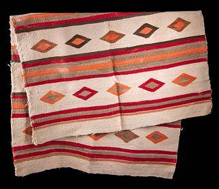 Vibrant 19th C. Navajo Woven Wool Rug Dazzler