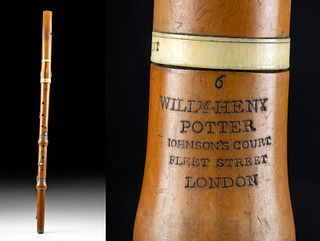 18th C. English Wood, Silver & Ivory Composite Flute