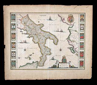 17th C. Dutch Map - Regno Di Napoli by Blaeu