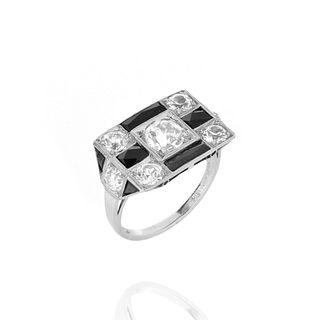 Deco Diamond, Onyx and Platinum Ring