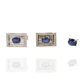 Star Sapphire and 14K Cufflinks and Tie Tack