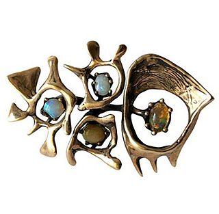 Rare Sammy P. Gee 14k Yellow Gold Opal American Modernist Brooch