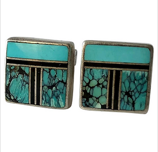 Ray Tracey Native American Sterling Silver Turquoise Inlay Cufflinks