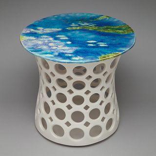 Pierced Ceramic Stout Hourglass Sidetable
