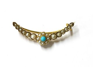 A late Victorian gold turquoise and split pearl open crescent brooch,