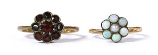 A gold and silver, split pearl and opal cluster ring,