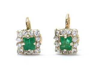 A pair of silver and gold emerald and white sapphire cluster earrings,