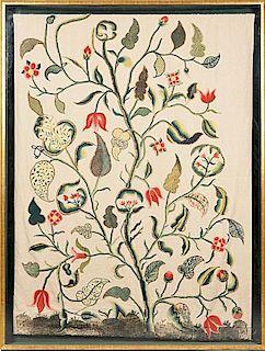 English Crewelwork Embroidered Panel