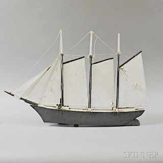 Frank Adams Carved and Painted Ship Weathervane