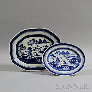 Two Blue and White Canton Porcelain Platters