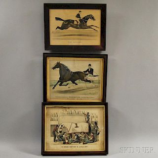 Three Framed Currier & Ives Equestrian Engravings