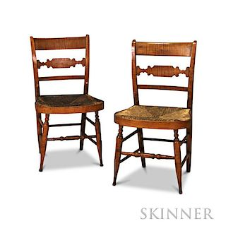 Pair of Tiger Maple Fancy Chairs
