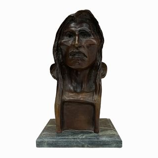 After F. Remington Bronze Bust Of Indian Chief