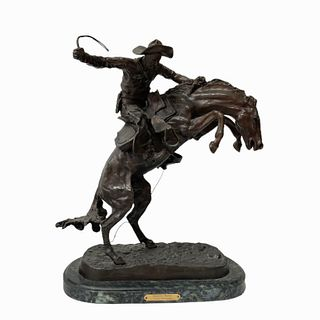 """After Frederic Remington """"Bronco Buster"""" Bronze"""
