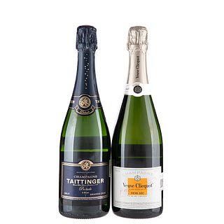 Lote de Champagne. Veuve Clicquot. Taittinger.  En presentaciones de 750 ml. Tota de piezas: 2.